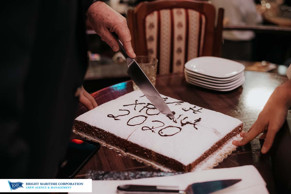 Cutting the new year's cake at Bright Maritime Piraeus